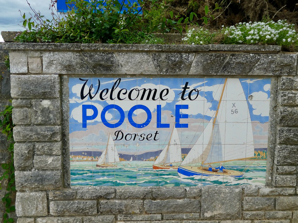 Welcome to Poole sign along the Bournemouth seafront