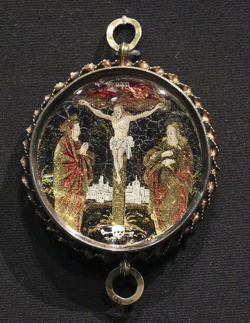 Pendant, Germany, 1550-1600, Partially gilded silver and verre eglomise.