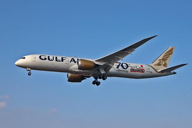 A9C-FE Boeing 787-9 Gulf Air Formula One Sticker 70 Years Sticker LHR 22-09-20