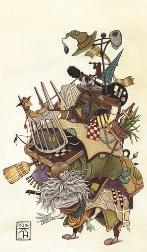 junk lady. From Artist Spotlight: Kat VanderWeele, LimningHouse Illustration