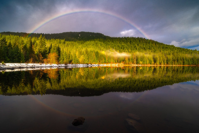 Trillium Lake, Oregon Rainbow