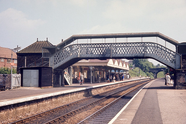 Wendover station, Buckinghamshire, on the London Marylebone to Aylesbury line. 31st May 1966. This view looking south..