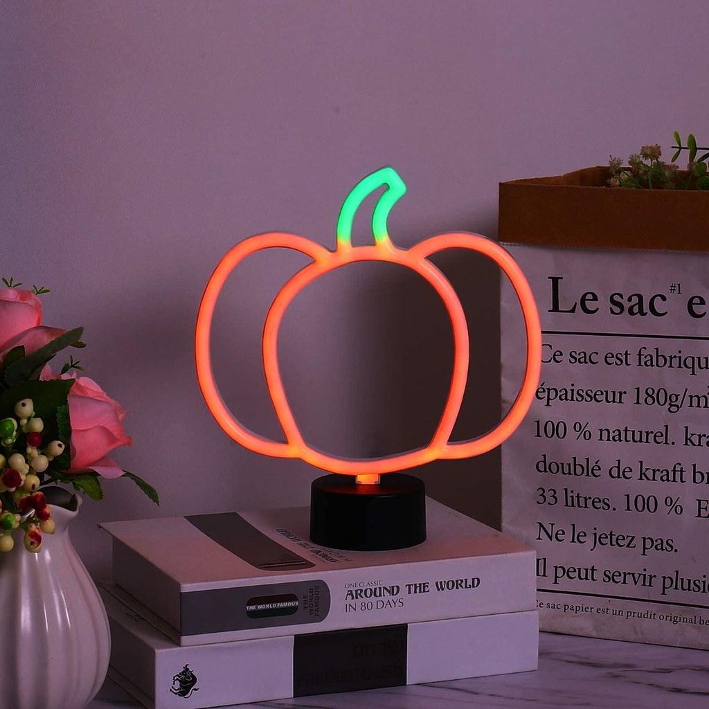 neon pumpkin light