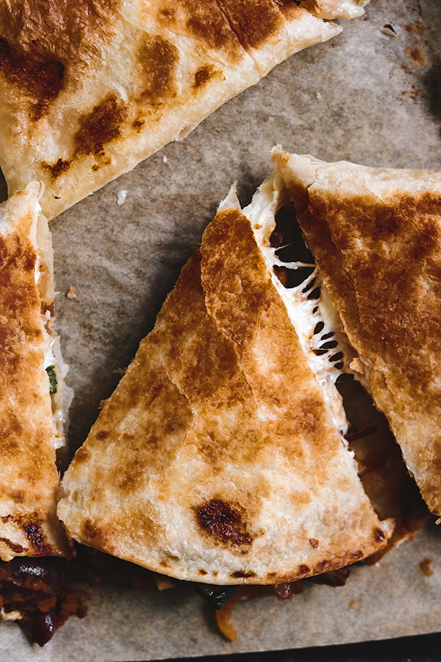 Black Bean, Poblano, and Smoked Mozzarella Quesadillas