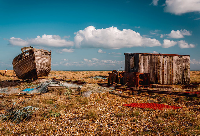 Abandoned boat, shed & winch gear at Dungeness beach