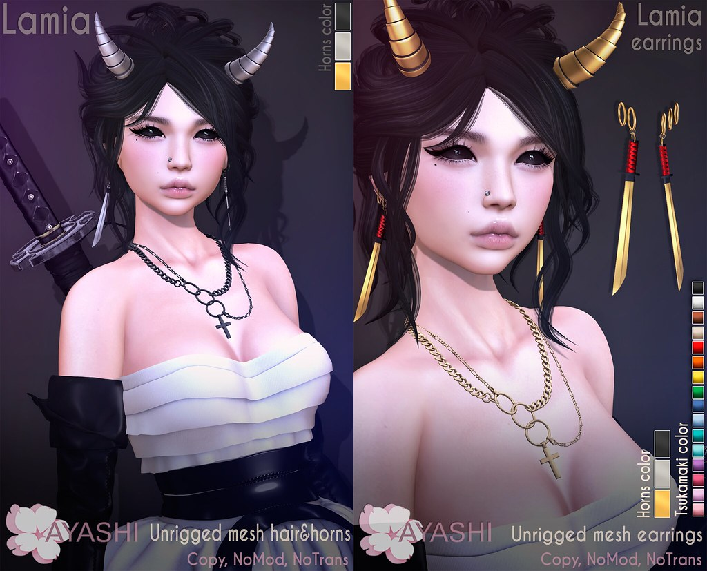 [^.^Ayashi^.^] Lamia hair & earrings special for Salem