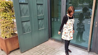 R. modelling an apron, made by me