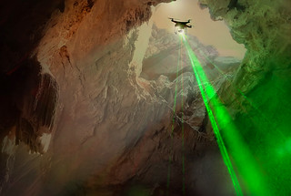 Catching a ride on a drone, OrganiCam could swoop into lava-tube caves on Mars to search for organic molecules marked by the tell-tale signature of life