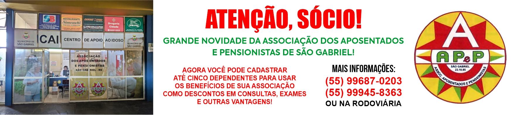 Atenção sócio da AAPSG: novidade, inclua dependentes para os benefícios da entidade!