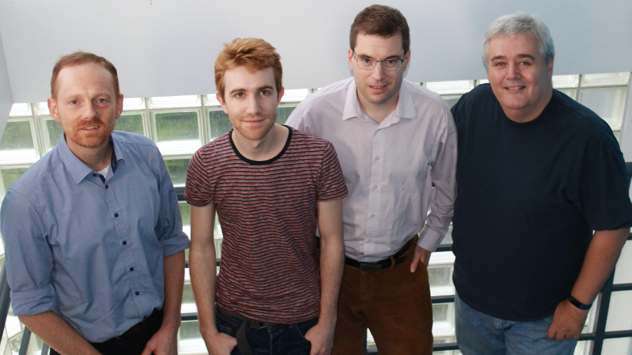 Photo of researchers Dr Jannis Wenk, Dr Carlos López-Alled, Dr Simon Lewis and Prof Tony James