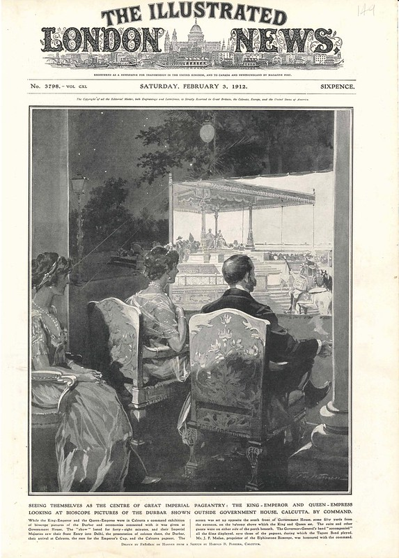King George V and Queen Mary watching J F Madan films in Calcutta