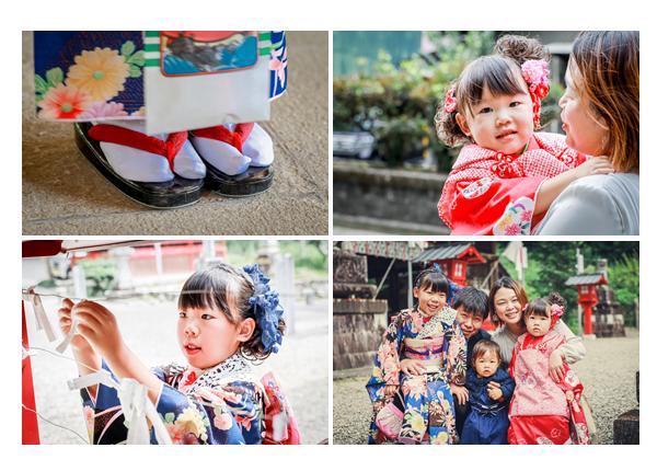 美濃八幡神社で七五三 おみくじを結ぶ女の子 家族写真