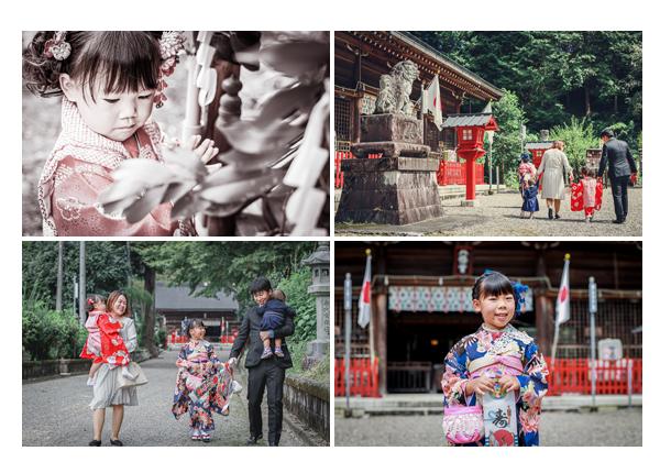 美濃八幡神社へ七五三参り 境内を歩く家族 岐阜県美濃市