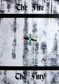 Zavier Ellis 'The Fire & The Fury (Sin) I', 2020 Acrylic on digital gloss print 42x29.7cm