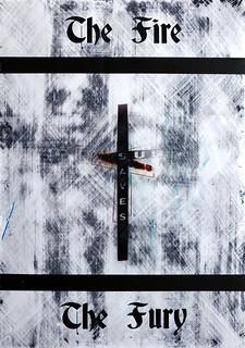 Zavier Ellis 'The Fire & The Fury (Sin Saves) I', 2020 Acrylic on digital gloss print 42x29.7cm