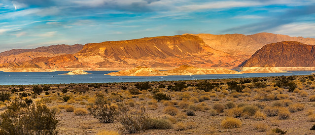 Lake Mead lit by the setting sun