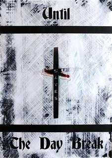 Zavier Ellis 'Until the Day Break (Sin Saves) I', 2020 Acrylic on digital gloss print 42x29.7cm