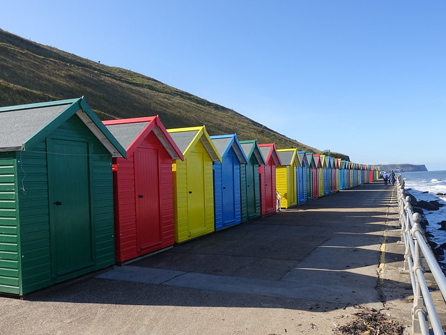 Coloured beach huts in Whitby