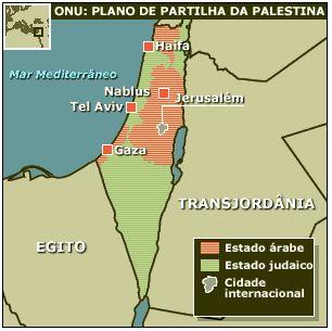 ONU. 29 de Novembro de 1947. DIVISÃO DA PALESTINA EM ESTADOS ARABE E JUDEU