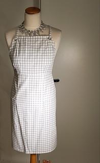 grey checkered apron
