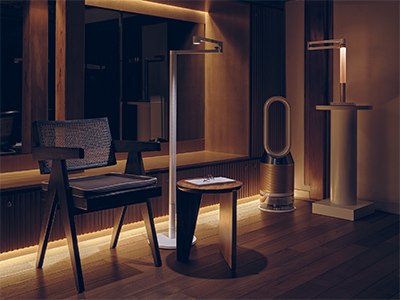The Dyson Lightcycle Morph light is available desk lamp and floor lamp versions in Black/Black and White/Silver.