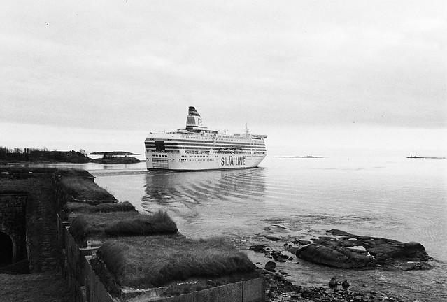 Silja ferry outbound passing soumenlinna, Helsinki Finland