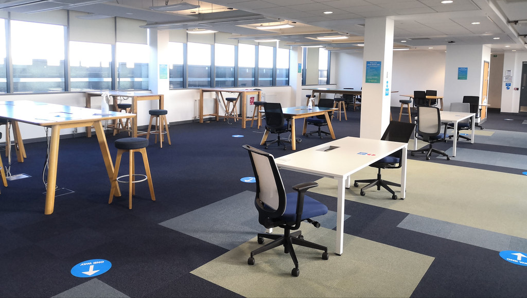 10 West study space arranged for two-metre distancing