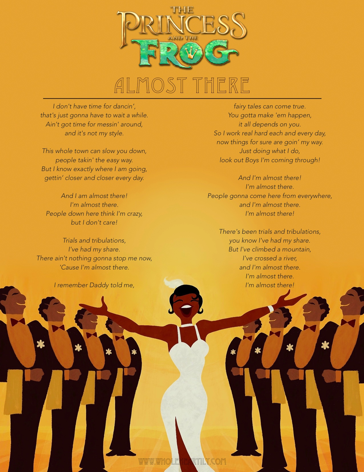 """""""Almost There"""" Lyric Page (The Princess and the Frog)"""