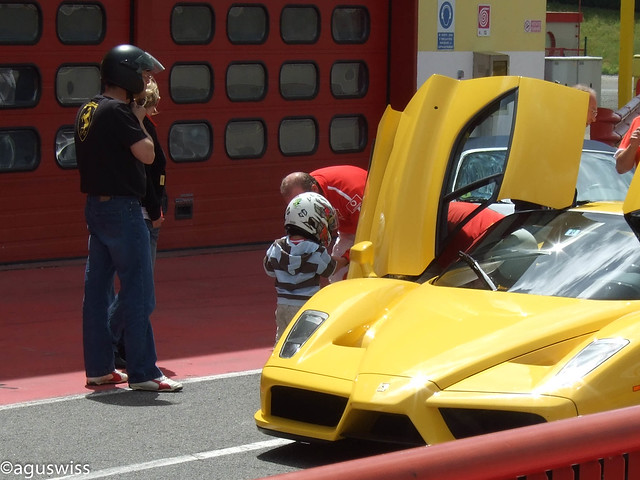 A next generation driver is getting ready to take the Ferrari Enzo for a spin