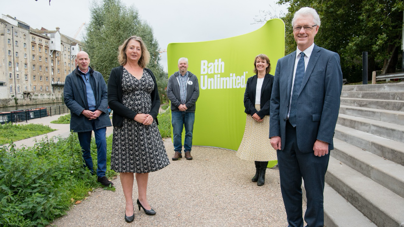 University of Bath Vice-Chancellor and President Professor Ian White (right) with members of the Bath Unlimited team