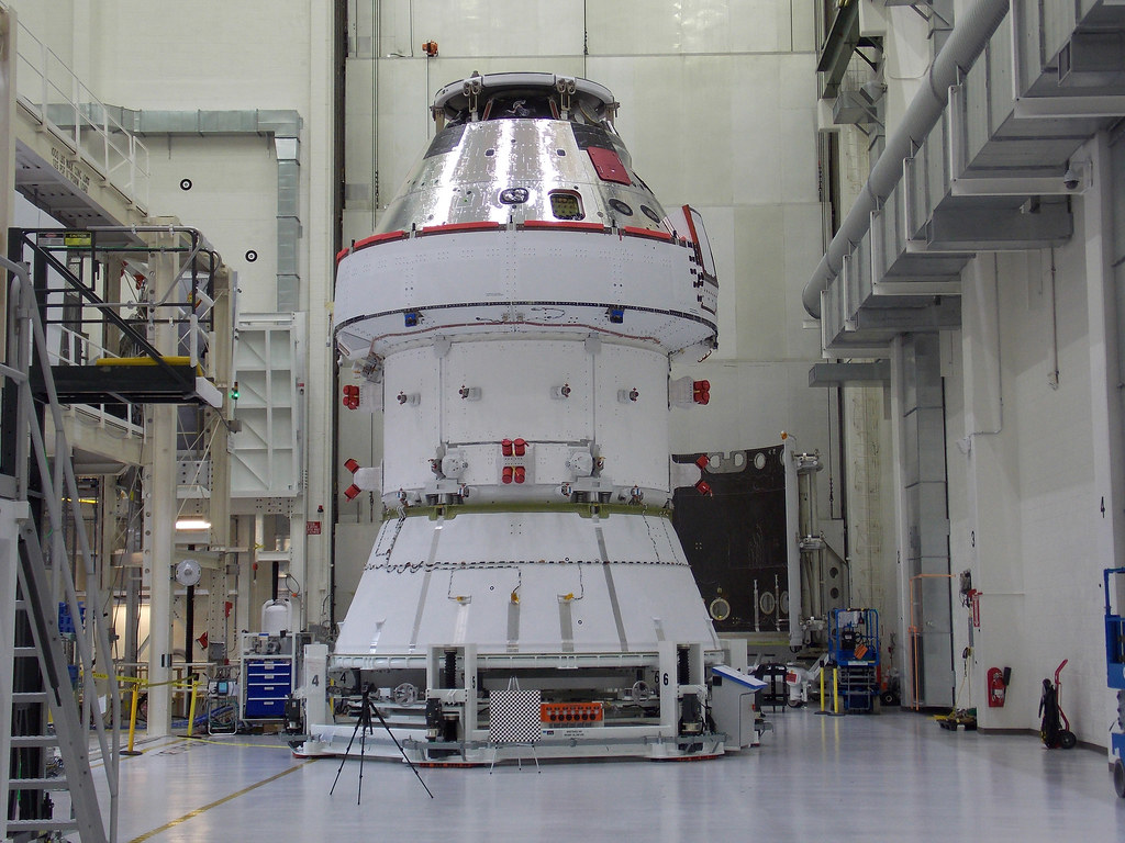 Orion Artemis 1 spacecraft in the O&C at NASA KSC