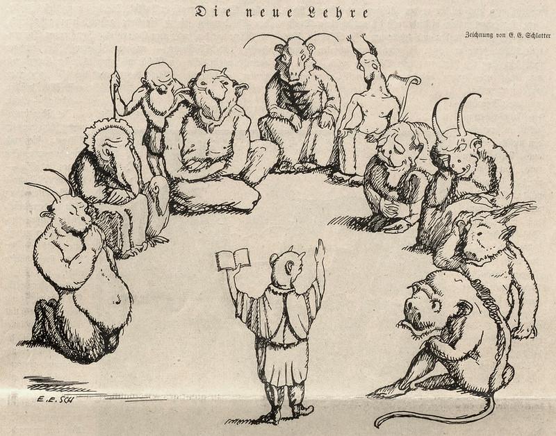 Ernst Emil Schlatter - The New Teachings, Nebelspalter, 1922