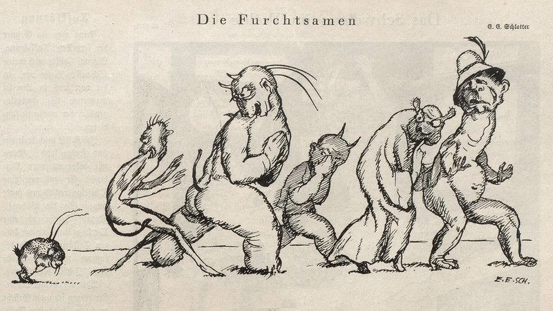 Ernst Emil Schlatter - The Frightened, Nebelspalter, 1920's