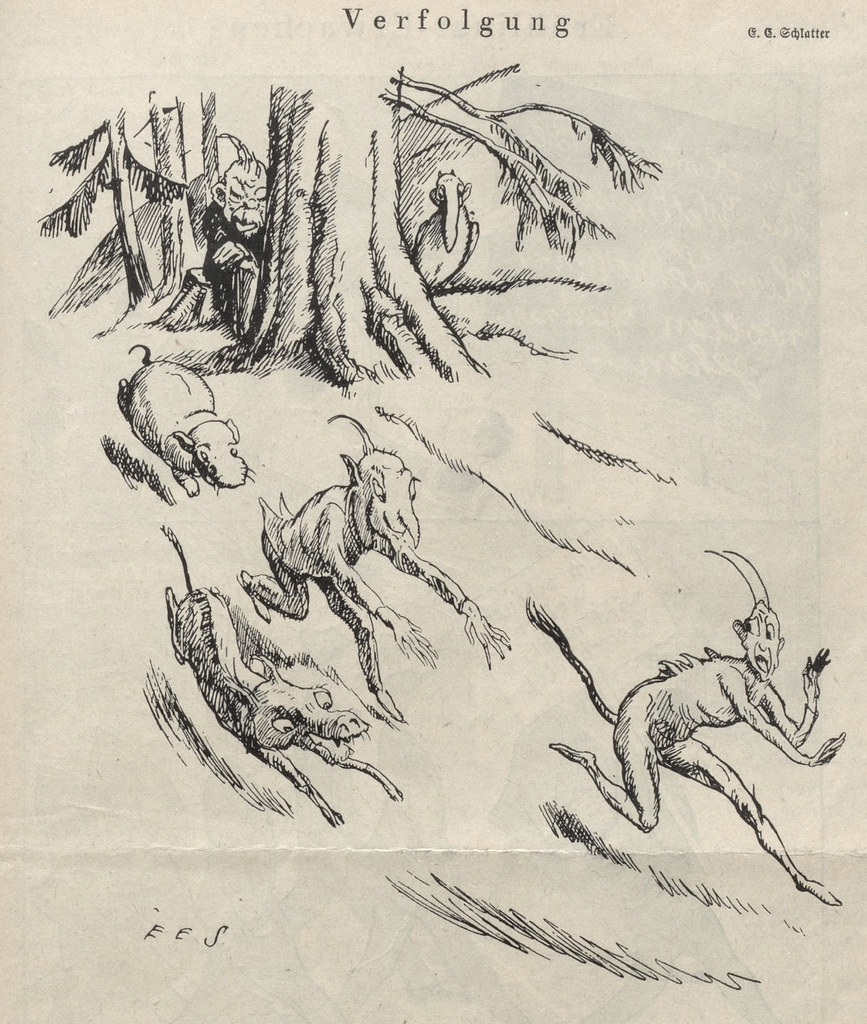 Ernst Emil Schlatter - Pursuit, Nebelspalter, 1920's