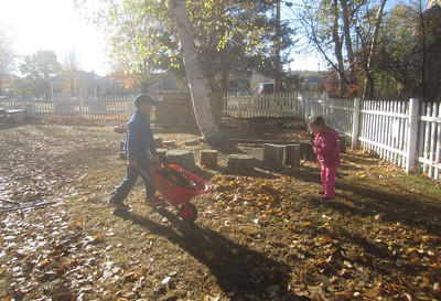 raking up and hauling away the leaves