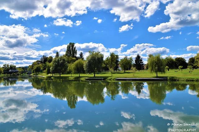 Karlovac, Croatia - Floating clouds in river Korana...