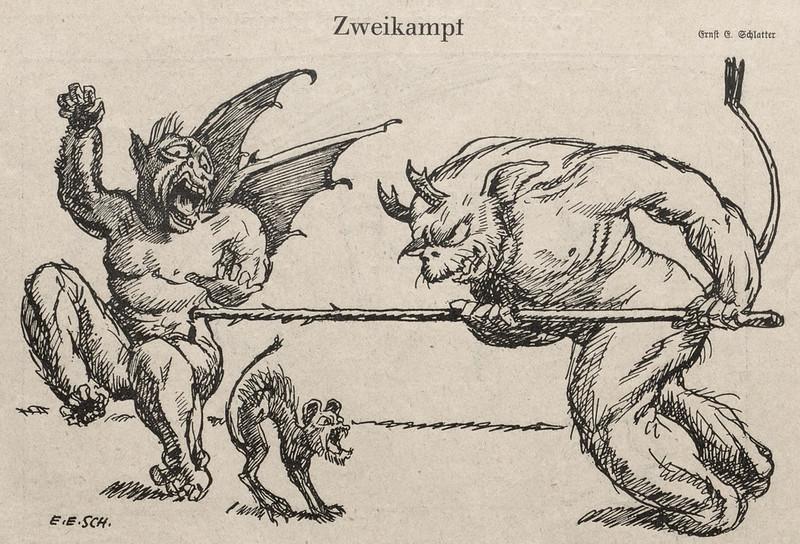 Ernst Emil Schlatter - Duel, Nebelspalter, 1920's