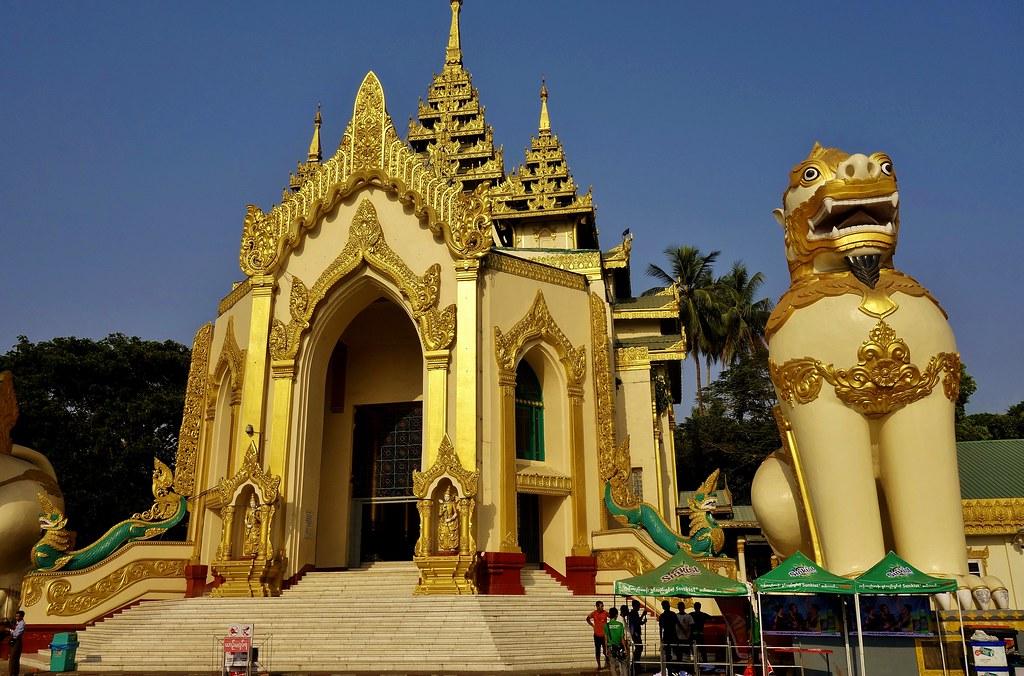 MYANMAR, Burma -Unterwegs in Yangon, - Eingang (West) zur Shwedagon - Pagode, 78014/13017