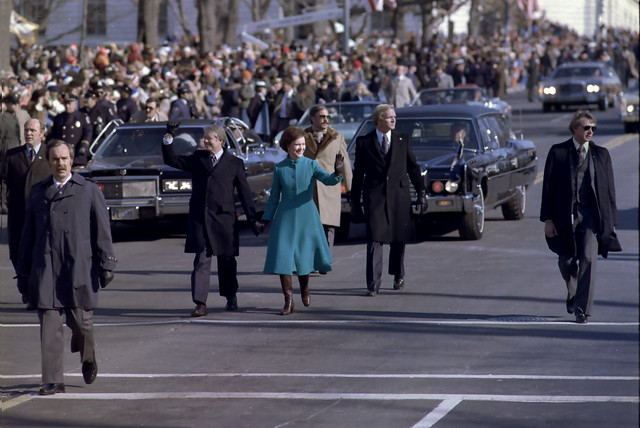 President Jimmy Carter & Rosalynn Carter walk Pennsylvania Avenue during Inauguration