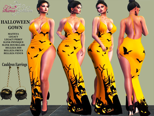 HALLOWEEN Gown and CAULDRON Earrings