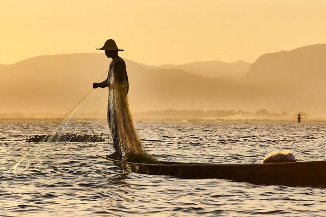 Leg Rowing Fisherman - Inle Lake, Myanmar