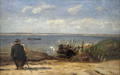Carl Irmer - Painter on the Baltic Sea Beach [c.1885] | by Gandalf's Gallery