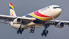 OO-ABD Airbus A340-300 from Air Belgium operating for Surinam Airways landing at Amsterdam Airport Schiphol