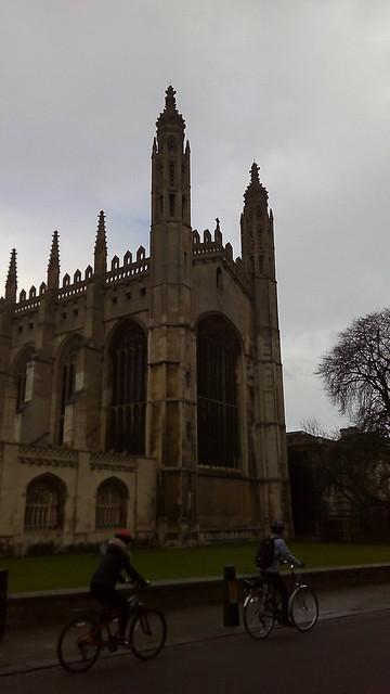 Cycling along the University of Cambridge