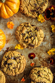 Salted Chocolate Chunk Pumpkin Sunbutter Cookies (vegan and gluten-free) from HeatherChristo.com | by Heather Christo