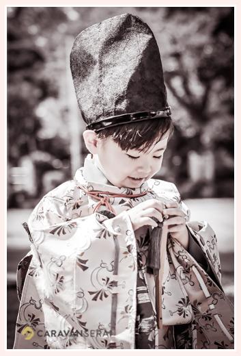 七五三 水干と烏帽子が衣装 5才の男の子
