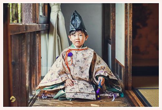 どうだん亭で七五三 水干と烏帽子が衣装の男の子 愛知県尾張旭市
