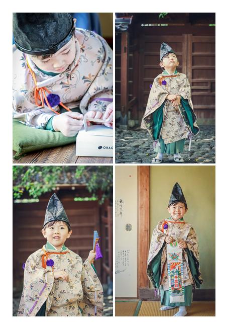 七五三のロケーション撮影 愛知県尾張旭市のどうだん亭 水干と烏帽子が衣装の男の子