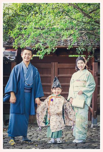 どうだん亭で七五三 年賀状用の家族写真