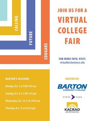 Join Barton at a virtual college fair October 5, 6, 14, 15